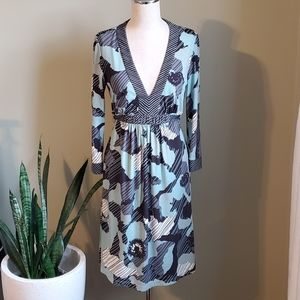 BCBGMaxAzria Teal Printed Dress Small